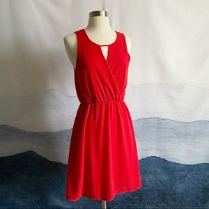 Everly Red Faux Wrap Mimi Dress